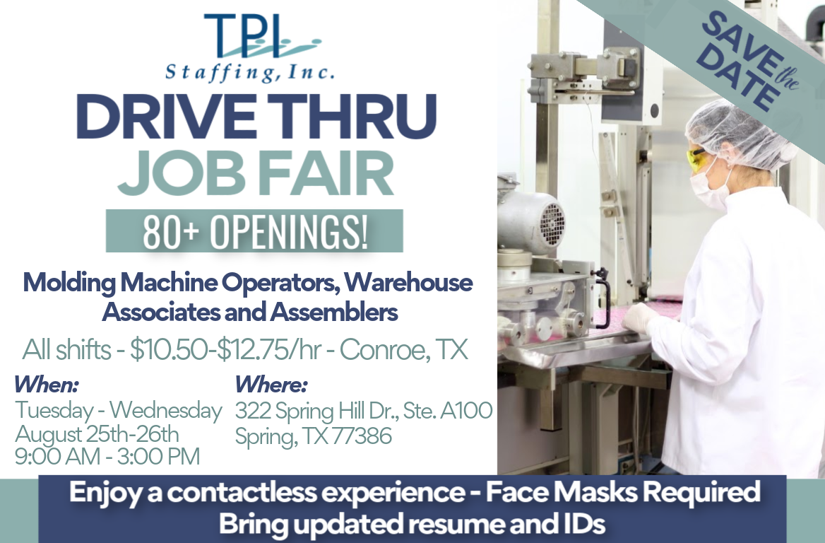 TPI Staffing is Hosting Drive Thru Job Fair in Spring, Texas